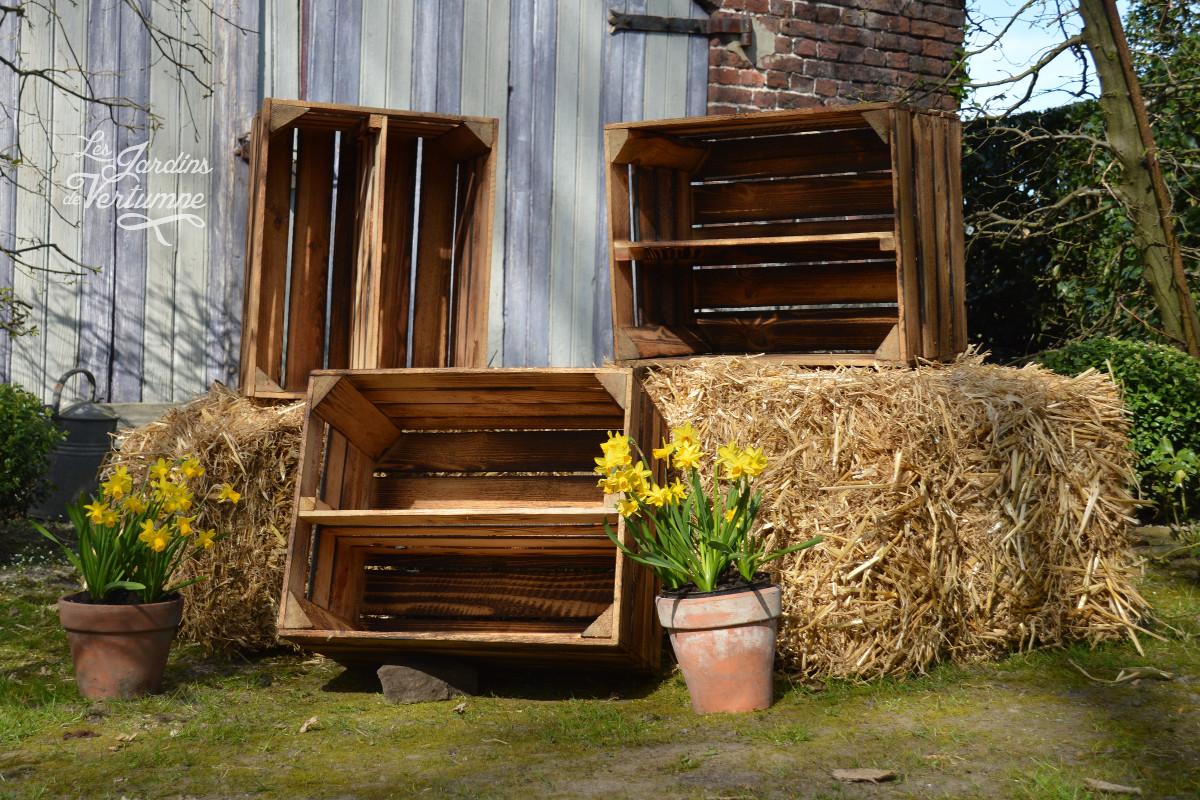 Caisse De Pomme Vide pierre lhoas - les jardins de vertumne - caisse en bois
